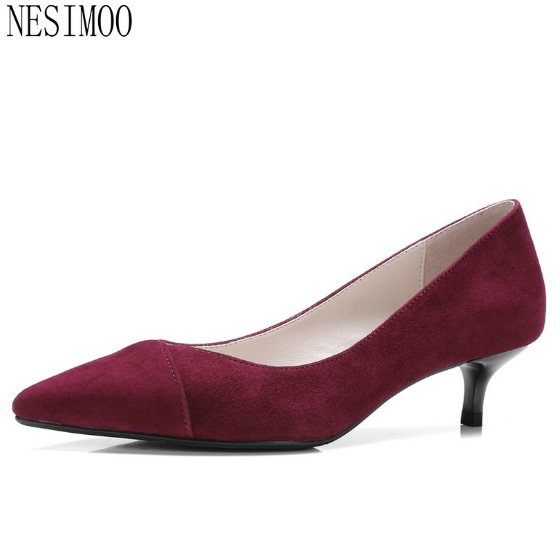 NESIMOO 2018 Fashion Women Pumps Cow Suede Slip on Thin High Heel Pointed Toe Westrn Style All Match Ladies Pumps Szie 34-39