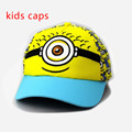 contton embroidery minion flat kids children hats boys summer cartoon hip hop sanpback caps hats for girls adjustable