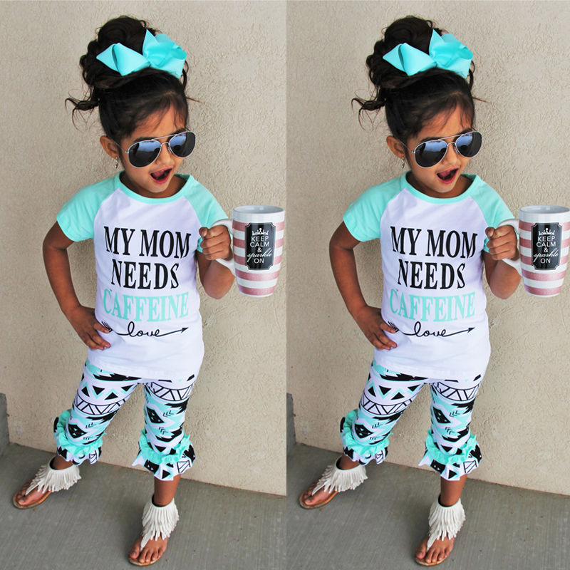 2016 2pcs T-shirt Tops + Long Pants New Toddler Children Kids Baby Girls Outfit Clothes Trousers Casual Green Shorts 2PCS Girls kids baby girls outfit clothes t shirt dot tops bloomers pants trousers 2pcs set x16