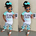 2016 2pcs T-shirt Tops + Long Pants New Toddler Children Kids Baby Girls Outfit Clothes Trousers Casual Green Shorts 2PCS Girls