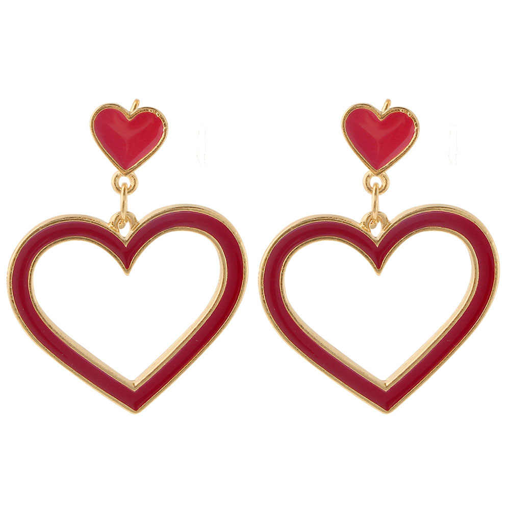 Personality Sweet Bog Heart Drop Earrings Metal Fashion Jewelry Dangle Earring Cute Red Pink Color Ear Drop Charms Gift Girl