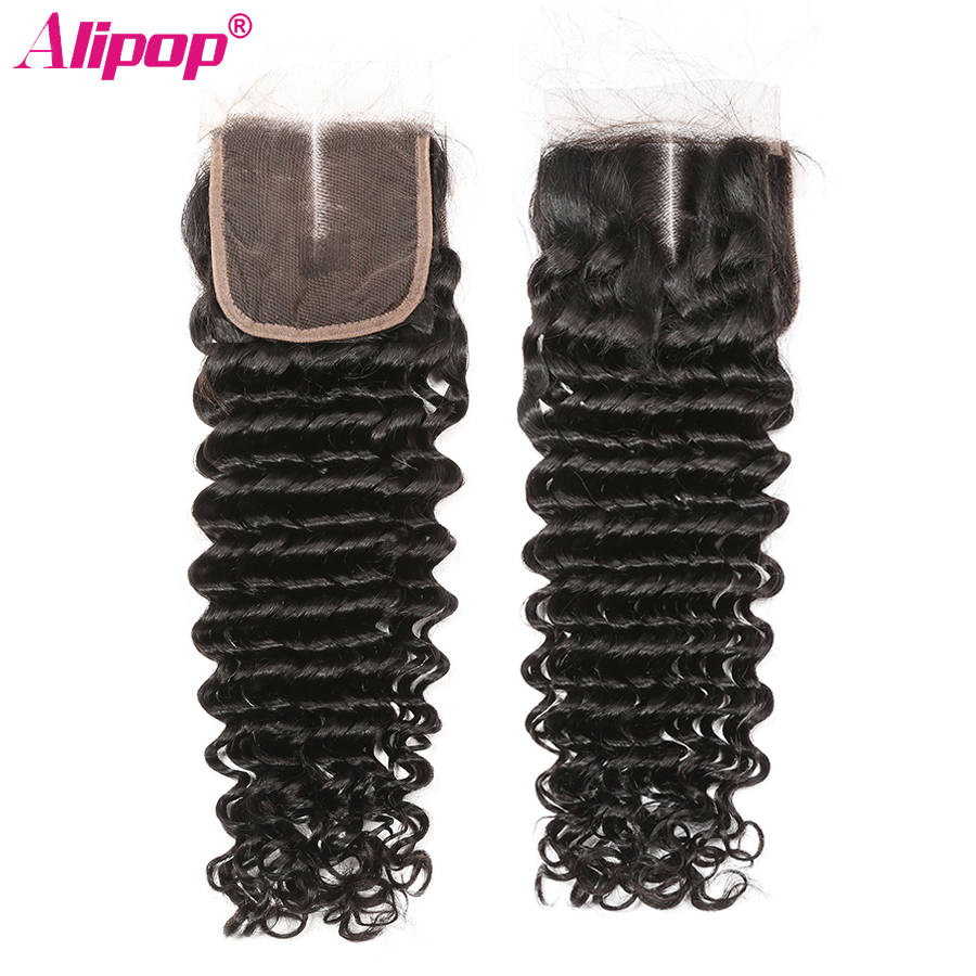 5x5 Closure Brazilian Deep Wave Lace Closure Free Middle Three Part Pre plucked With Baby Hair Swiss Lace Remy Human Hair ALIPOP (2)