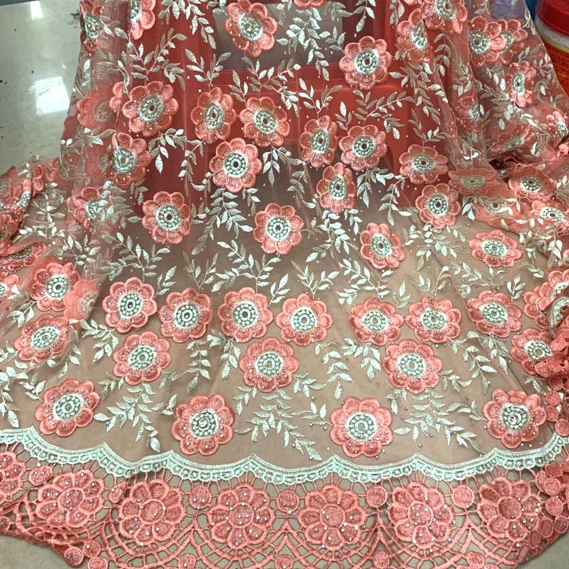 African Lace Fabric 2019 High Quality Lace Peach African Guipure Cord Lace Embroidery Nigerian Wedding Lace