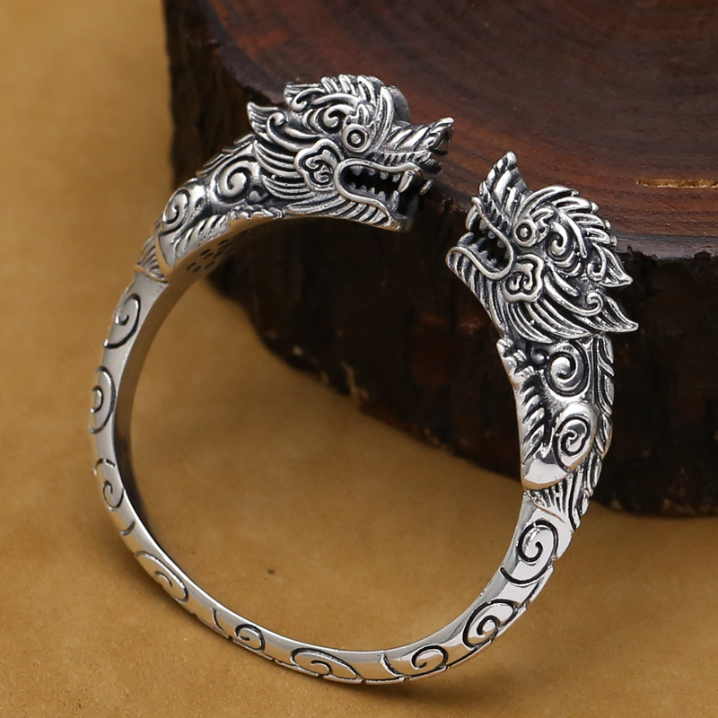 Handmade Thai Silver Dragon Bangle Vintage Real 925 Silver Dragon Bangle Man Bangle Punk Jewelry Gift popular good quality gift silver jewelry bangle pink love heart famous crystals 925 pure silver bangle