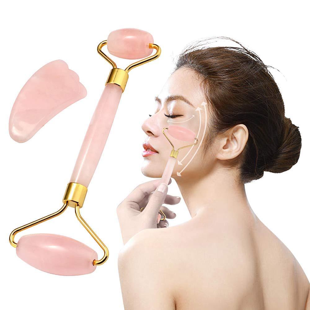 Jade Roller Gua Sha Scraping Facial Tools Set,Rose Quartz Crystal Face Massager,Anti Aging, Rejuvenates Face and Neck Skin invisible bra
