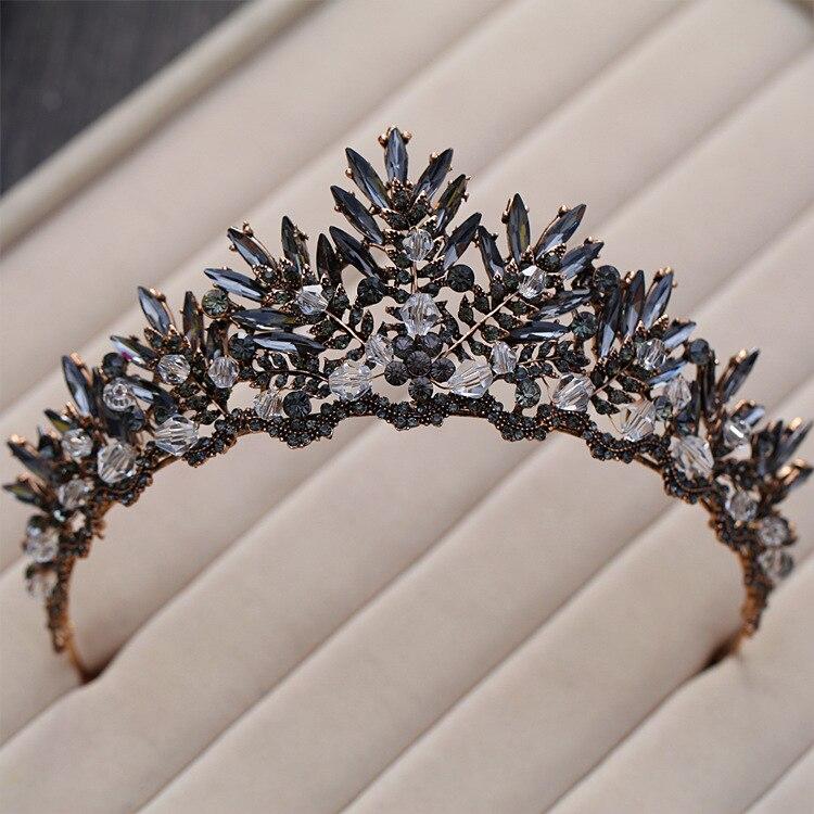 Barock Bronze Schwarz Kristall Perlen Braut Tiaras Strass Diadem Pageant Crown für Bräute Stirnbänder Hochzeit Haar Zubehör