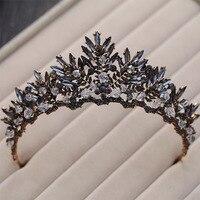 Baroque Bronze Black Crystal Beads Bridal Tiaras Rhinestone Diadem Pageant Crown For Brides Headbands Wedding Hair