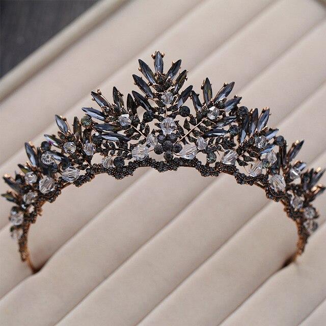 Baroque Bronze Black Crystal Beads Bridal Tiaras