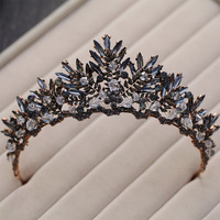 Baroque Bronze Black Crystal Beads Bridal Tiaras Rhinestone Diadem Pageant Crown For Brides Headbands Wedding Hair