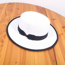 SUOGRY Women Boater Sun Caps Ribbon Bow Round Flat Top Straw Fedora Panama Hat Summer Hats for White Beach