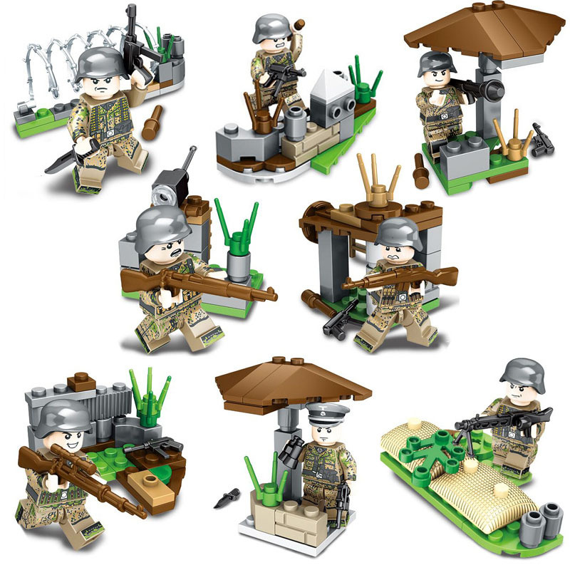 8PCS WW2 German Army Soldiers Weapons Defense Fortress Building Blocks Bricks Compatible LegoINGlys Military Toys for Children  8PCS WW2 German Army Soldiers Weapons Defense Fortress Building Blocks Bricks Compatible LegoINGlys Military Toys for Children