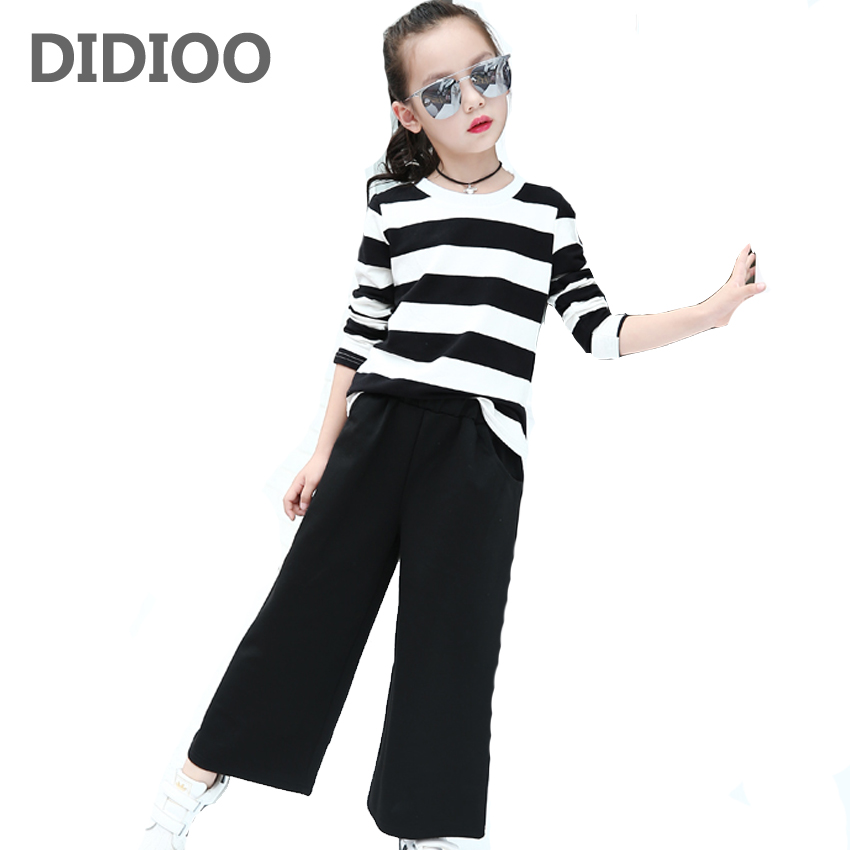 все цены на  School Clothing Sets For Girls Outfits Cotton Striped T-Shirts & Wide Leg Pants 2Pcs Students Tracksuits 2 3 5 7 8 9 11 12 Years  онлайн