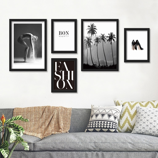 US $4.0 |Wall art di new 2017 soggiorno moderno e minimalista simple nero  pittura pitture murali decorative divano foto su tela sj in Wall art di new  ...