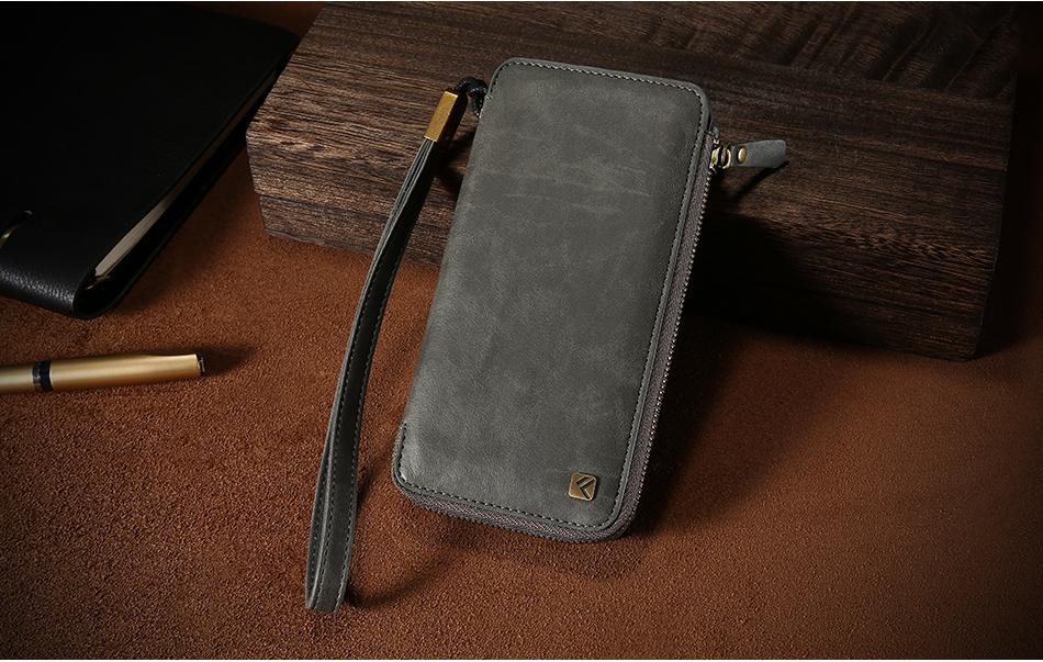 Floveme vintage wallet case dla iphone 6 6 s 7 plus skórzanej oprawie zipper torebka posiadacza karty retro przypadki telefonów dla iphone 6 6 s 7 15