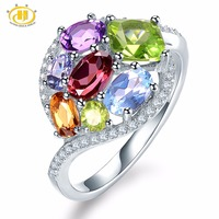 Hutang Natural Multi Gemstone Amethyst Tanzanite Citrine Garnet Solid 925 Sterling Silver Ring Fine Jewelry Presents