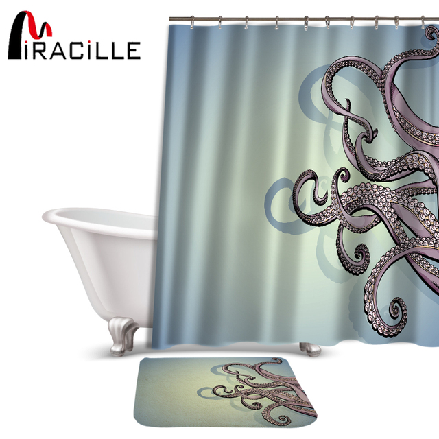 Miracille Waterproof 3D Octopus Printed Polyester Bath Shower Curtain Sets Bathroom Carpet Accessories With 12 Plastic