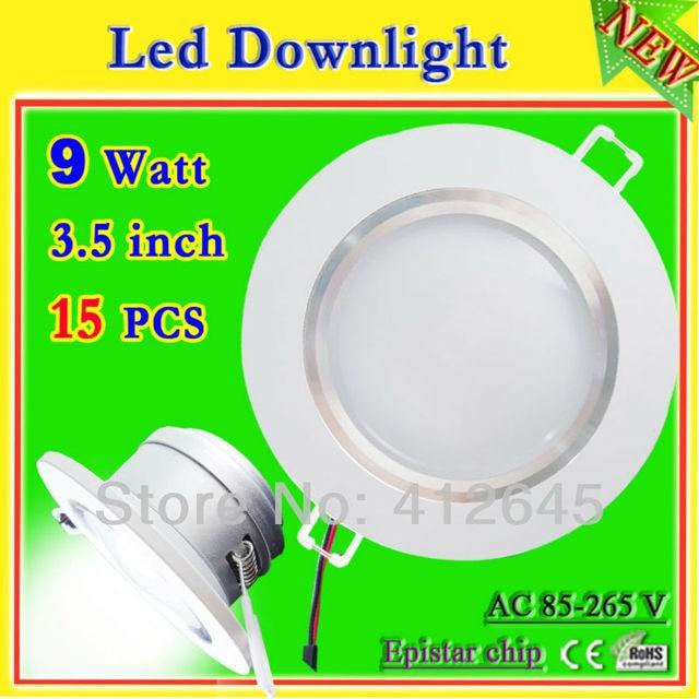 9 w led downlight kit_free shipping 9 watt led recessed downlight 3.5 inch+led driver_900 lumen aluminum light