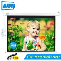 AUN 100 дюймов 16:9 Моторизованный экран для AUN светодиодный DLP проектор экран крепление на потолок, на стену пульт дистанционного управления экр
