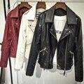 2017 Новая Мода весна Осень Зима Женщины моды красный черный Кожаные Куртки Pu Молнии Мотоциклетная Куртка Пальто верхняя одежда