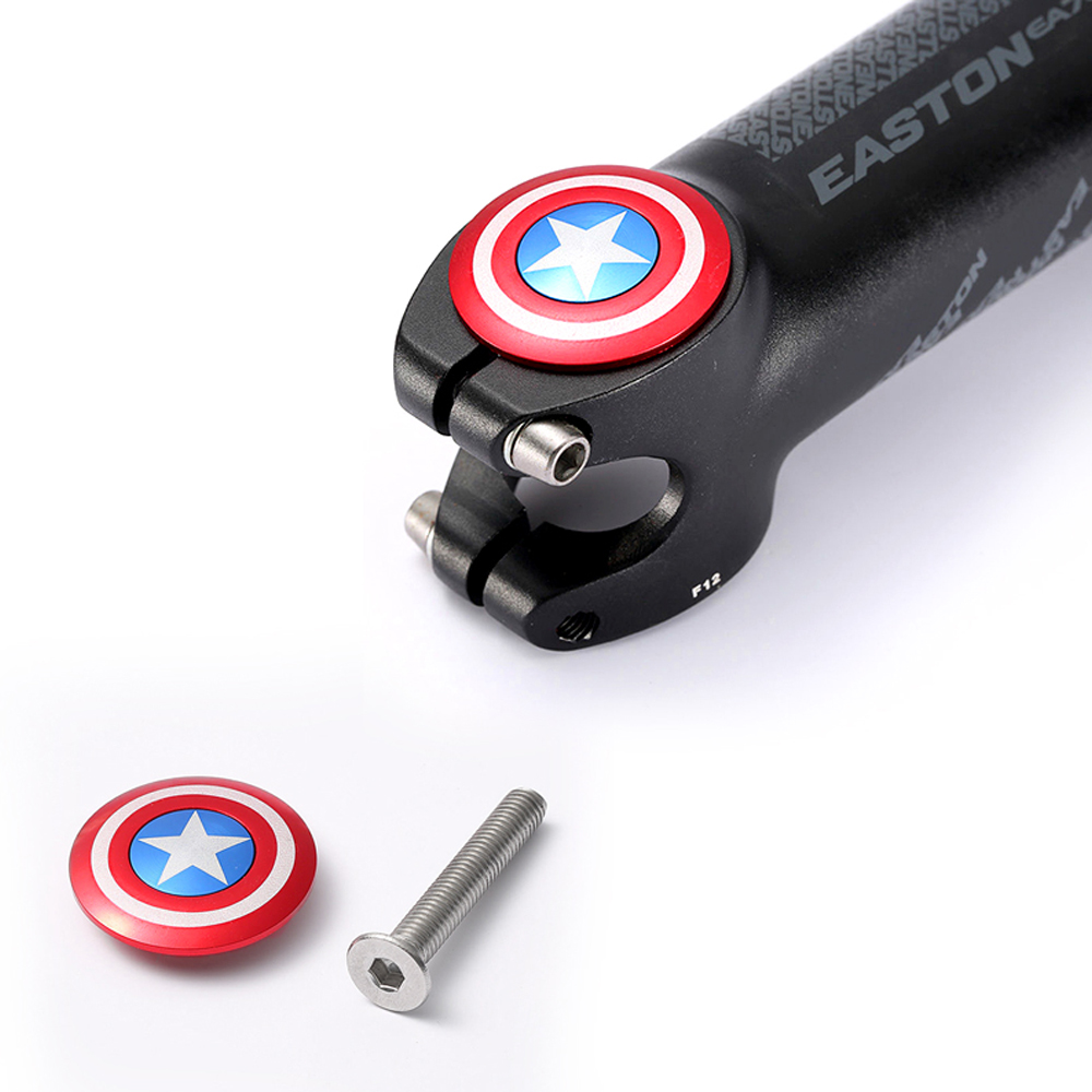 Bicycle Stem Top Cap with Screw Headset Cover Captain America 28.6mm