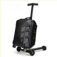 100% PC fashion 20 inch students scooter trolley suitcase/boy cool 3D cover extrusion business trip child luggage boarding box