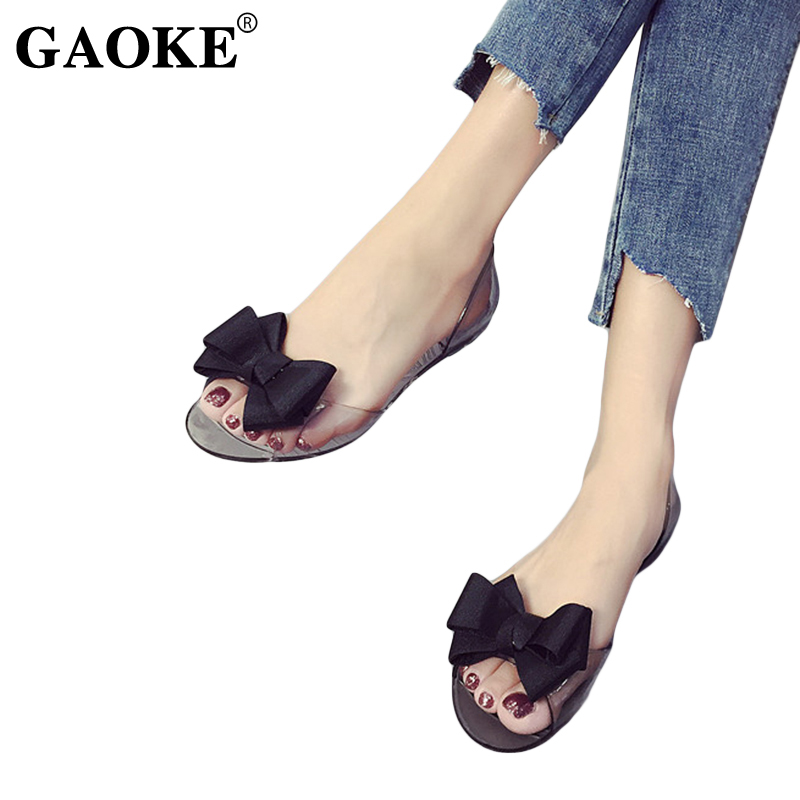 854184af5c25da Detail Feedback Questions about 2018 Summer New Favolook Women Bow Flower  Jelly Beach Casual Sandals Flip Flops Flat Shoes Fashion Clear Sandals Red  Black ...