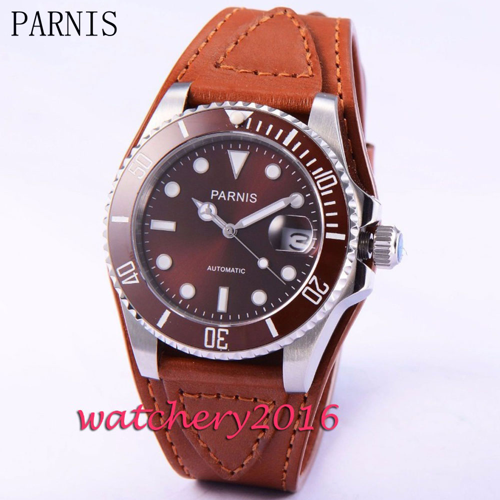 где купить Casual 40mm Parnis brown dial sapphire glass brown bezel luminous marks Automatic movement Men's Watch по лучшей цене