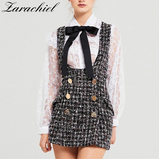 e0c6b80f641 2019 Autumn Winter 2 Piece Set Dress Women Ruffles Bow Shirt Lace Top+Plaid  Sleeveless Tweed Vest Dress Double Breasted Overalls