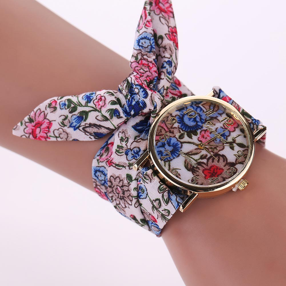 New Clock Fashion Women Floral Cloth Wristwatch Ladies Watch Fabric Watch Sweet Girls Bracelet Watch Gift shsby ladies butterfly orchid flower cloth wristwatch fashion women dress watch silky chiffon fabric watch bracelet watch