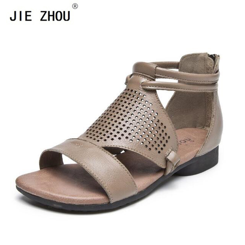 Female Genuine Leather sandals summer shoes woman New Back zipper roman sandals Fashion open toe Flat sandalsFemale Genuine Leather sandals summer shoes woman New Back zipper roman sandals Fashion open toe Flat sandals