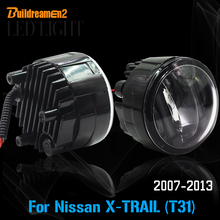 Buildreamen2 2 Stücke Auto LED-Licht Nebelscheinwerfer + Tagfahrlicht Drl Zubehör Für 2007-2013 Nissan X-Trail T31