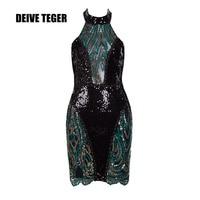 DEIVE Teger 2018 Новое поступление без рукавов с открытыми плечами короткое платье; ES Sexy Back Открыть Холтер блестками Для женщин короткое платье; by226