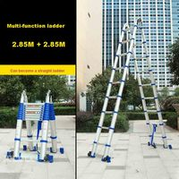 JJS511 High quality Thick Aluminum Alloy 2.85M+2.85M Multi function Ladder Engineering Ladder Portable Household Folding Ladder