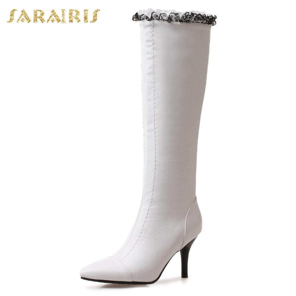 White Invierno La Sarairis Fur 32 Gran Fur Fur With white Botas Zapatos 2018  Rodilla Sexy Altos ... 5c342aeb610b