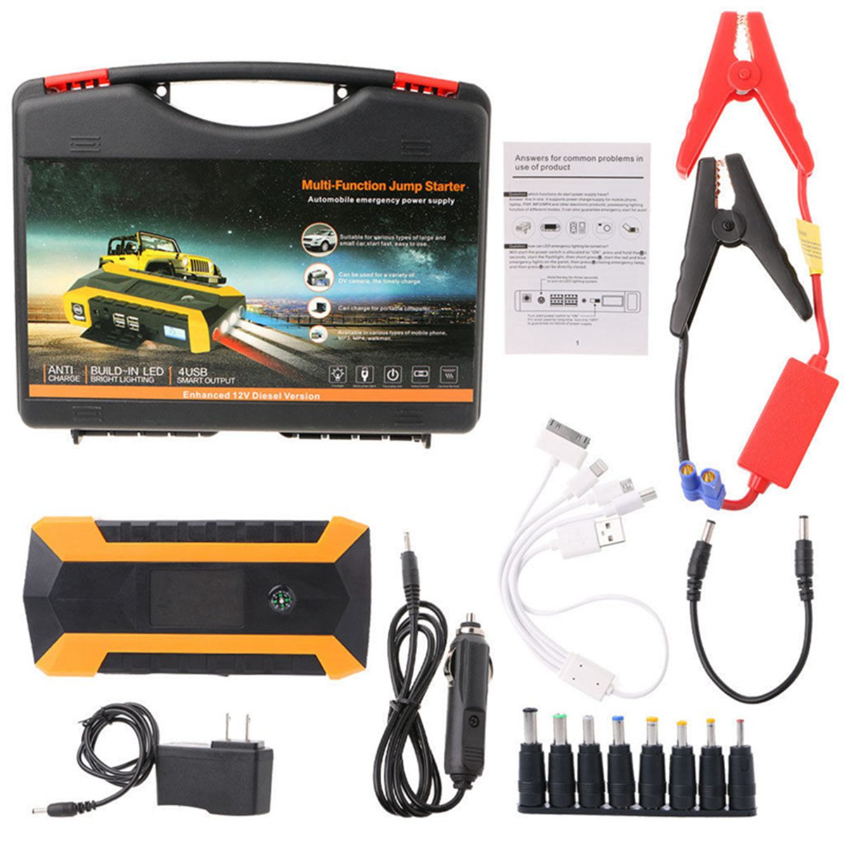Practical 89800mAh 12V 4USB Car Battery Charger Starting Car Jump Starter Booster Power Bank Tool Kit For Auto Starting Device 12v 82800mah 4usb high power car jump starter battery charger starting car booster power bank tool kit for auto starting device