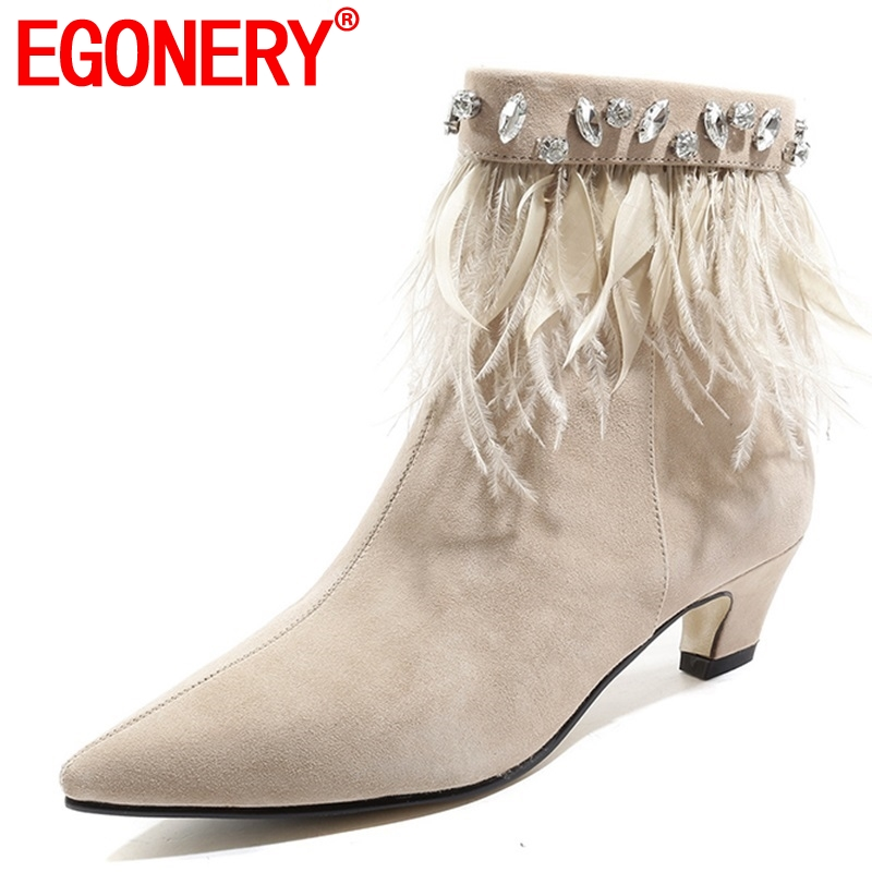 EGONERY women shoes 2018 new fashion pointed toe crystal feather decoration med strange styla zip black and apricot ankle bootsEGONERY women shoes 2018 new fashion pointed toe crystal feather decoration med strange styla zip black and apricot ankle boots