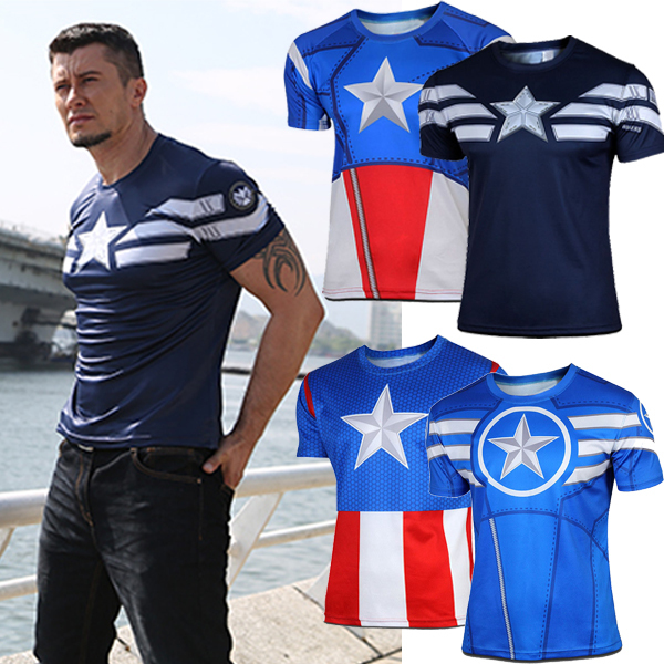 Super Hero Avenger Captain America T-shirt Sports Men Compression Armour  Base Layer Thermal Under Tee Vest Bicycle Jogging Tops 9b41c75a5