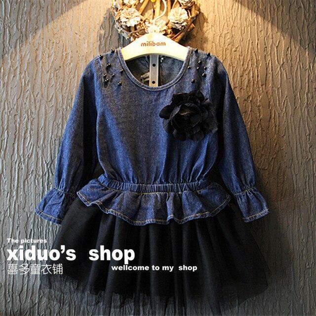 New2015 осень зима девочки джинсы платье жемчужина волновой точки кружева лоскутное дети ну вечеринку платье vestido infantil for2 ~ 7age детская одежда
