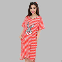 Cartoon Rabbit Cotton Nightgowns Women Summer Plus Size Short Sleeve Nightdress Female Sleepwear Sleepshirts Pregnant Woman