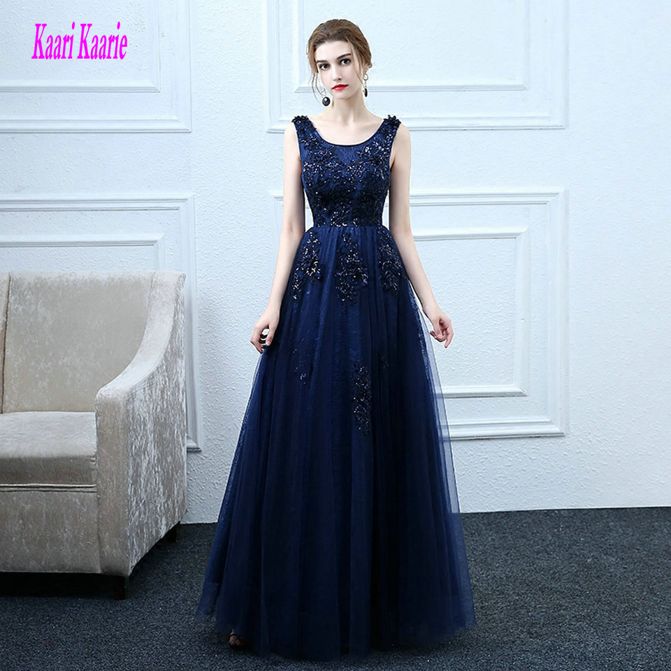 Elegant Dark Navy   Evening     Dresses   2019 New   Evening   Party Gown Long Scoop Sequin Appliques Lace Up Formal Prom   Dress   Custom Made