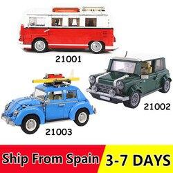 21001 21002 21003 Volkswagen T1 Camper Technik Bausteine Ziegel Spielzeug Kompatibel 10220 10252 10242 Weihnachten Geschenk