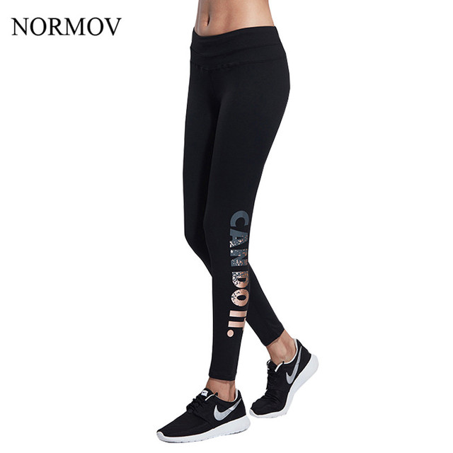 NORMOV S-XL 3 Colors Workout Leggings Women Adventure Time Letter Printed High Waist Legging Elastic Thin Sexy Spandex Legins