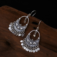 S925 sterling silver vintage worn tassel personality wild exaggerated woman's silver earrings