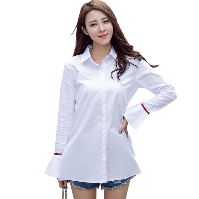 Long Shirt White Blouse Women Clothes 2017 Ladies Office Shirts ...