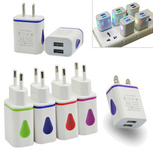 цена на US/EU Plug AC Wall Charger Adapter 2.1A LED Dual USB 2 Port Travel Charger For Cellphone