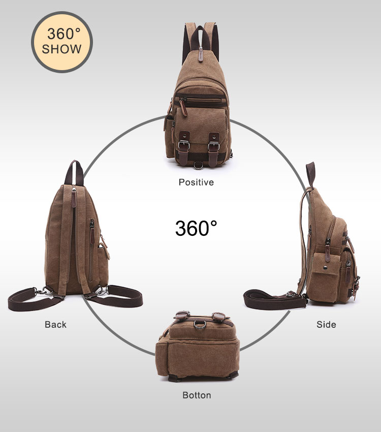 latest model  fashion chest bag, sling bag men casual canvas sling bag wholesale