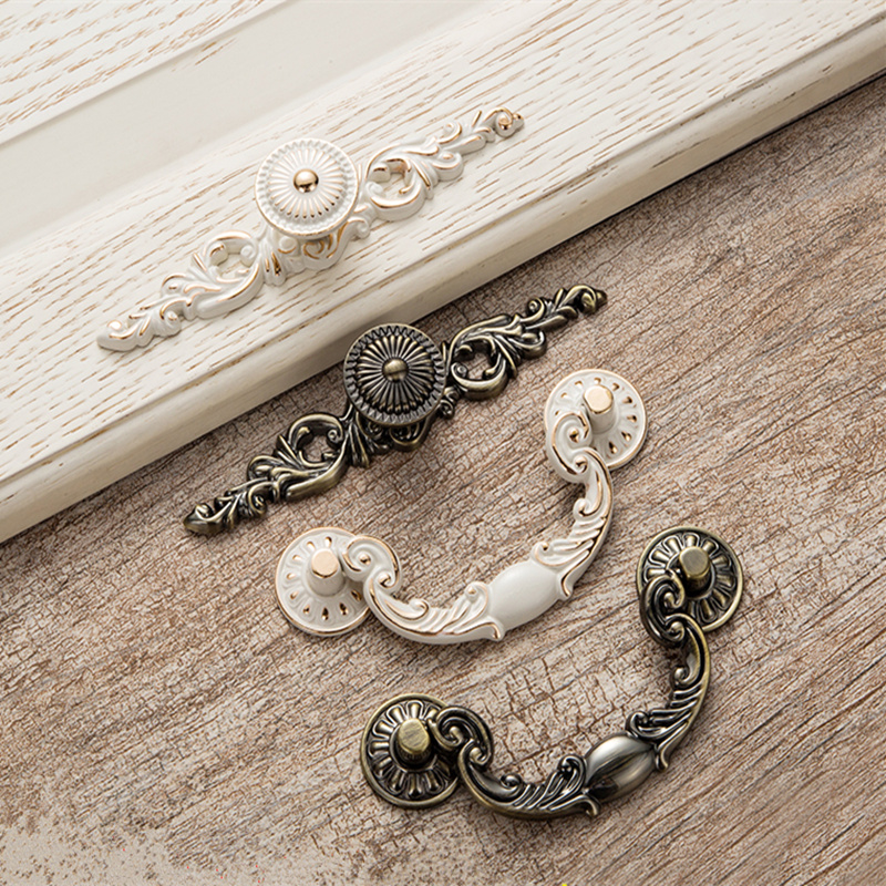 High quality Vintage Decorative Bronze Drawer Cabinet Desk Door Pull Handle Furniture Hardware,Free shipping-in Furniture Accessories from Furniture