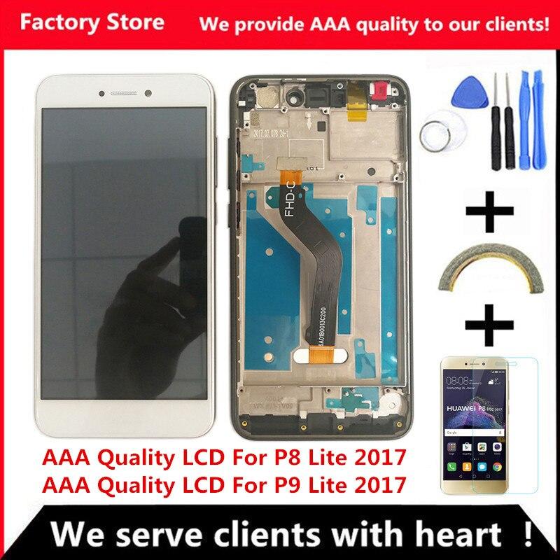 AAA jakość LCD + rama dla HUAWEI P8 Lite 2017 wyświetlacz Lcd wymiana ekranu dla Huawei P9 Lite 2017 ekran LCD PRA-LA1 PRA-LX1