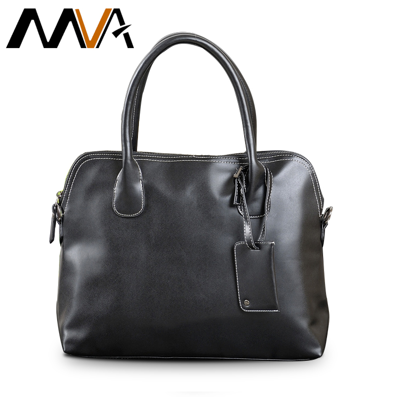 ФОТО MVA Shoulder Crossbody Bags PU Leather Men Bag Large Capacity Handbag Totes Men's Travel Bags PU Leather Laptop Bag 14 inch