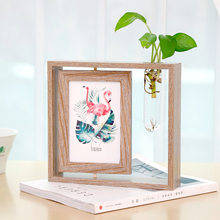 Creative Photo Frame Set 6 Inch Photo Office Desk Water Culture Decorative Ornaments Nordic Wrought Iron Double-Sided Home Decor(China)